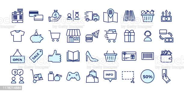 Icons Related With Commerce Shops Shopping Malls Retail Vector Illustration Filled Outline Design Set - Arte vetorial de stock e mais imagens de Arte Linear