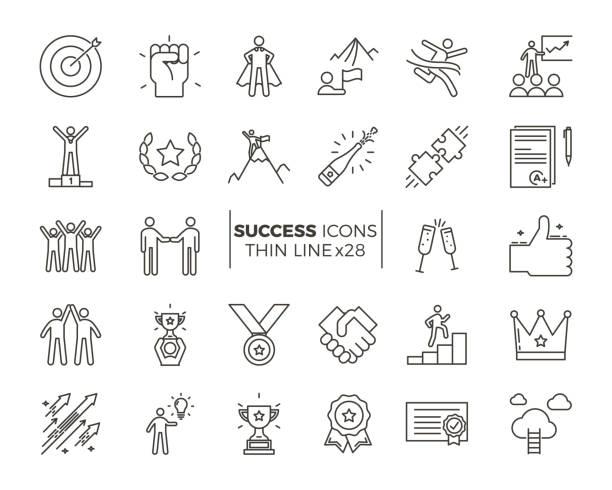 ikony związane z sukcesem, motywacją, siłą woli, przywództwem, determinacją i wzrostem. zestaw tematyczny piktogramu wektorowego. obiekty i dynamiczne akcje znaków - chudy stock illustrations