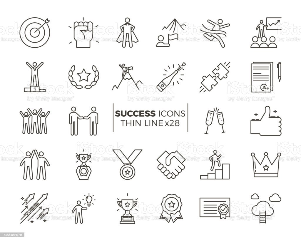 Icons related with success, motivation, willpower, leadership, determination and growth. Vector pictogram thematic set. Objects and dynamic character actions – artystyczna grafika wektorowa