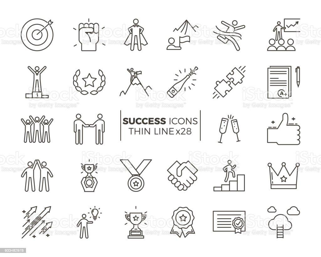 Iconos relacionados con el éxito, motivación, voluntad, liderazgo, determinación y crecimiento. Conjunto temático de pictograma de vector. Objetos y acciones de carácter dinámico - ilustración de arte vectorial