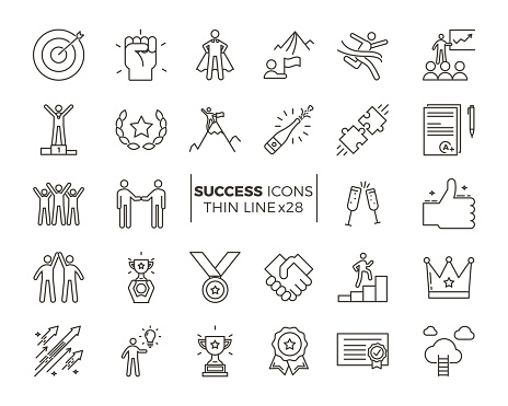Icons Related With Success Motivation Willpower Leadership Determination And Growth Vector Pictogram Thematic Set Objects And Dynamic Character Actions - Stockowe grafiki wektorowe i więcej obrazów Aspiracje