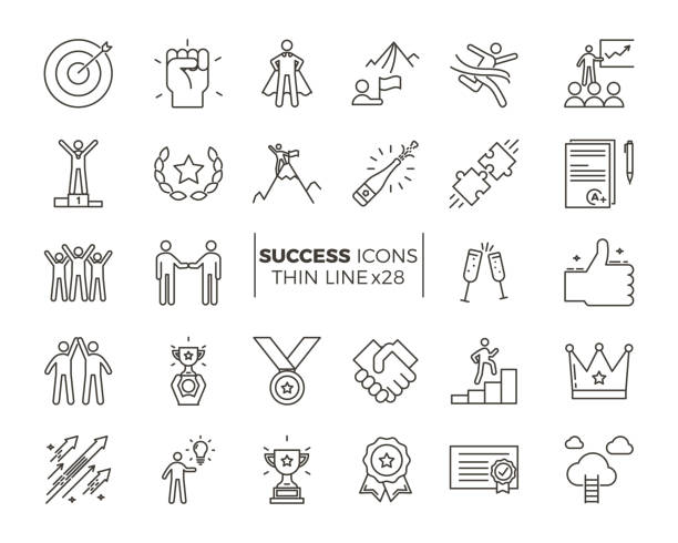 Icons related with success, motivation, willpower, leadership, determination and growth. Vector pictogram thematic set. Objects and dynamic character actions vector art illustration
