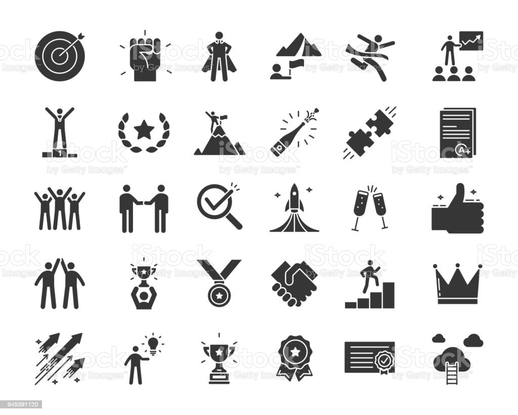 Icons related with success, motivation, willpower, leadership, determination, effectiveness and growth. Vector pictogram thematic set in glyph style. Objects and dynamic character actions royalty-free icons related with success motivation willpower leadership determination effectiveness and growth vector pictogram thematic set in glyph style objects and dynamic character actions stock illustration - download image now