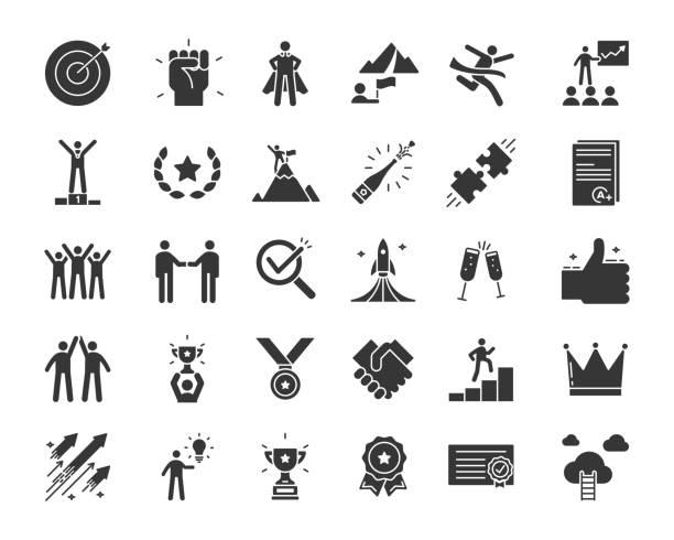 ikony związane z sukcesem, motywacją, siłą woli, przywództwem, determinacją, skutecznością i wzrostem. zestaw tematyczny piktogramu wektorowego w stylu glifów. obiekty i dynamiczne akcje znaków - umiejętność stock illustrations