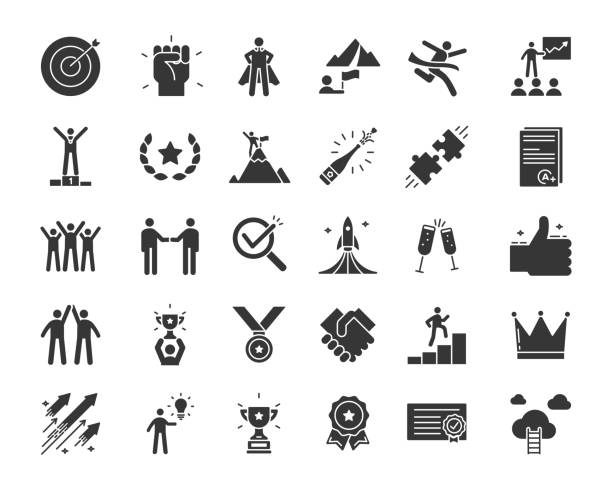 Icons related with success, motivation, willpower, leadership, determination, effectiveness and growth. Vector pictogram thematic set in glyph style. Objects and dynamic character actions vector eps10 motivation stock illustrations