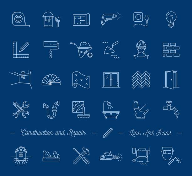 bildbanksillustrationer, clip art samt tecknat material och ikoner med ikoner reparation, byggnad, konstruktion symboler. heminredning, vvs, verktyg för reparation. vector tunn linje ikoner - construction workwear floor