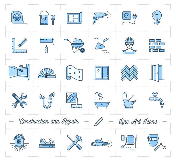 bildbanksillustrationer, clip art samt tecknat material och ikoner med ikoner reparation, hem förbättring. konstruktion och byggnad verktyg ikoner set - construction workwear floor