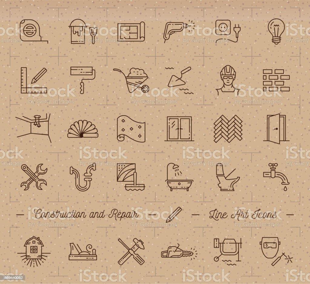 Icons Repair Home Renovation Building Construction Symbols Home