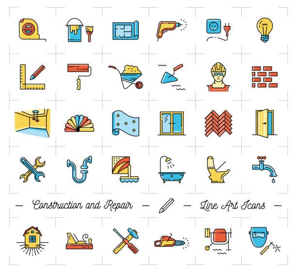 bildbanksillustrationer, clip art samt tecknat material och ikoner med ikoner reparera hus, lägenhet. reparation verktyg symboler. konstruktion tunn linje konst ikoner - construction workwear floor