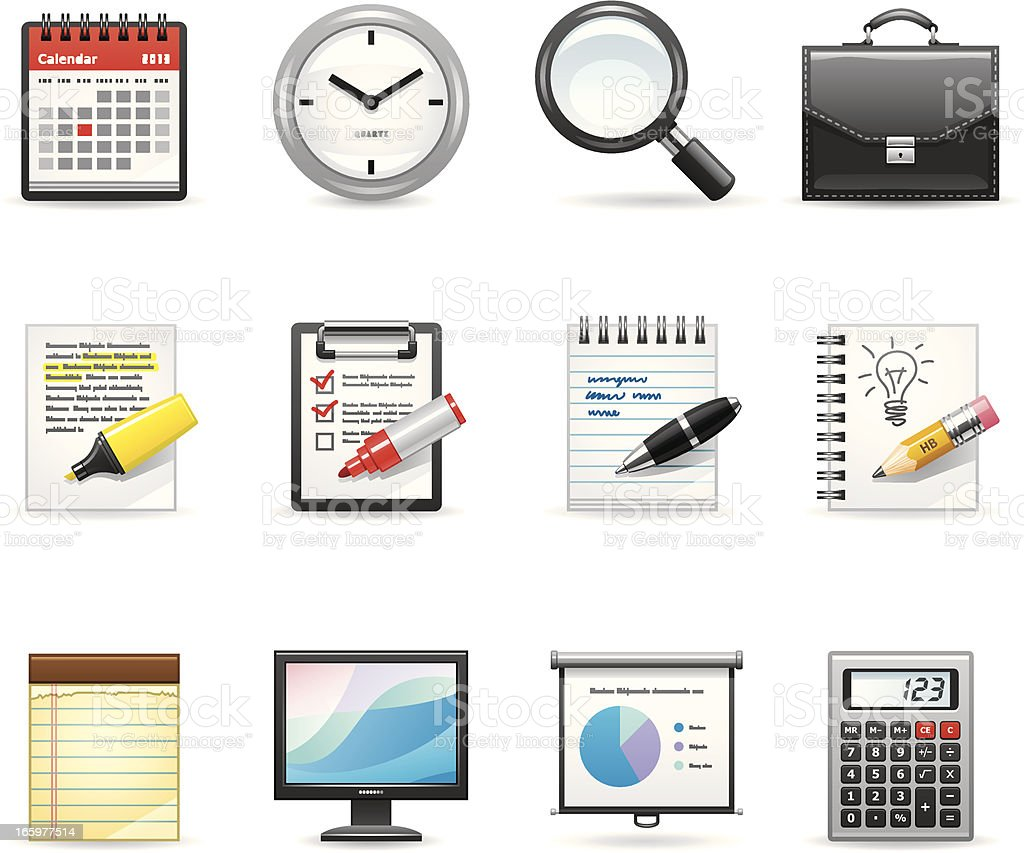 Icons representing an office and business royalty-free icons representing an office and business stock vector art & more images of briefcase