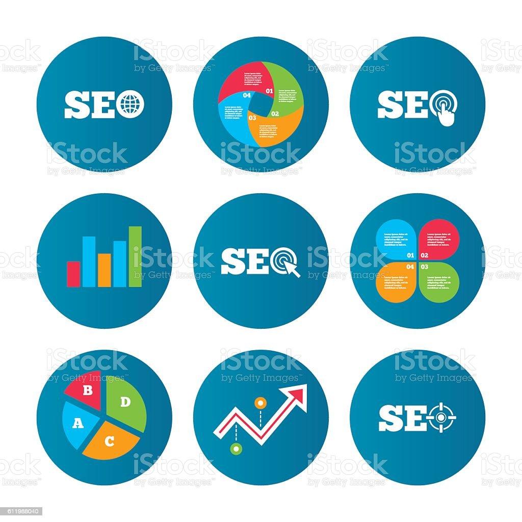 Seo Icons Search Engine Optimization Symbols Stock
