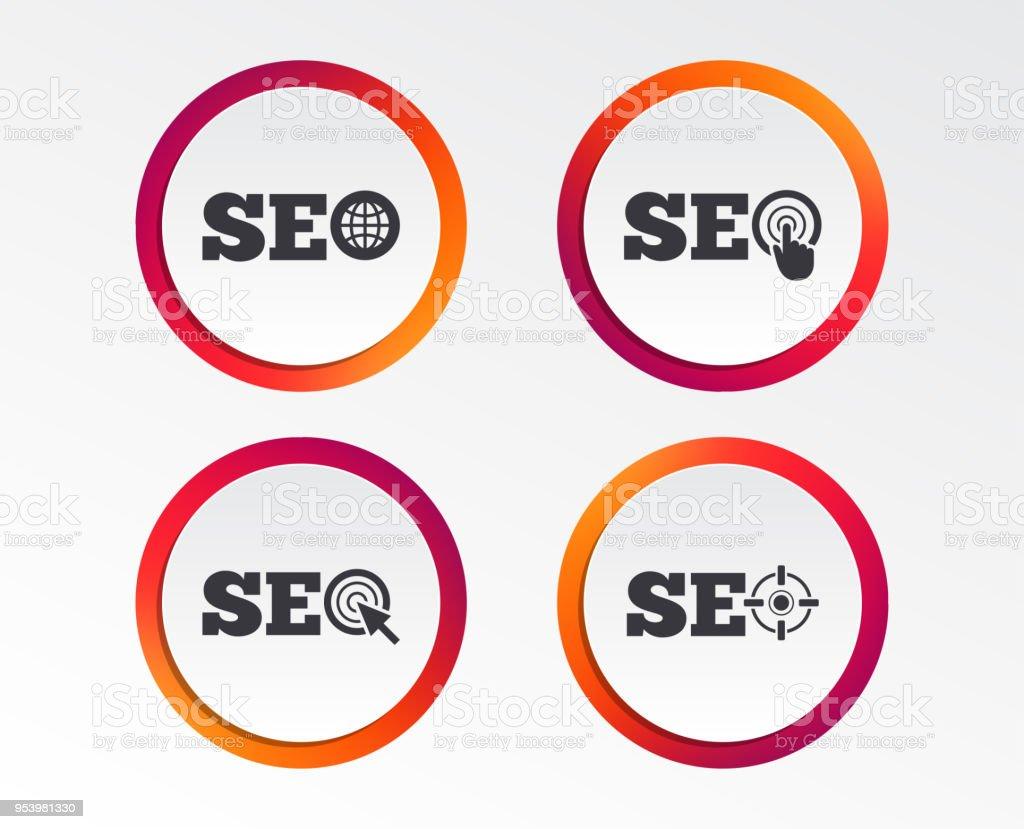 Seo Icons Search Engine Optimization Symbols Stock Vector Art More