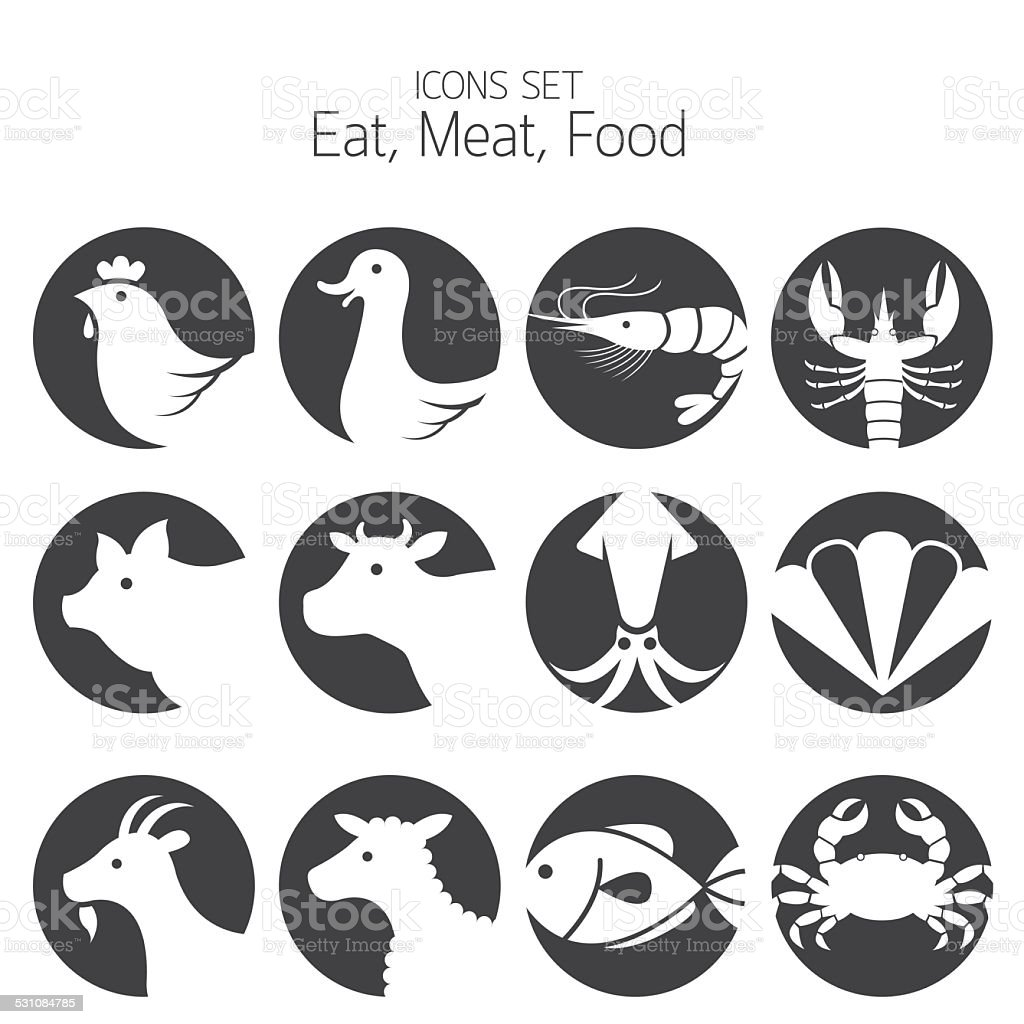 Icons Set : Animal, Meat, Seafood and Eating vector art illustration