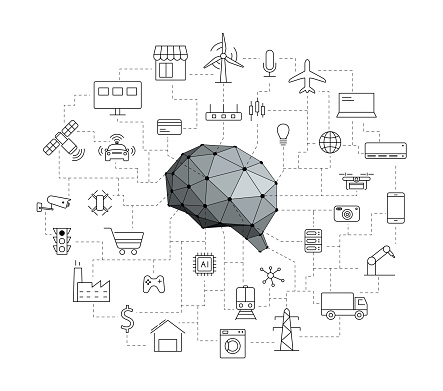 IOT icons set, artificial intelligence concept of future.