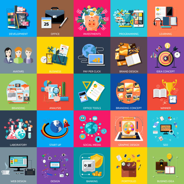 icons set banner für business - webdesigner grafiken stock-grafiken, -clipart, -cartoons und -symbole