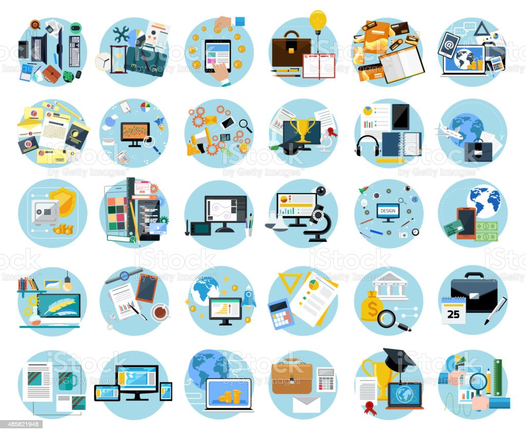 Icons set banners for business vector art illustration