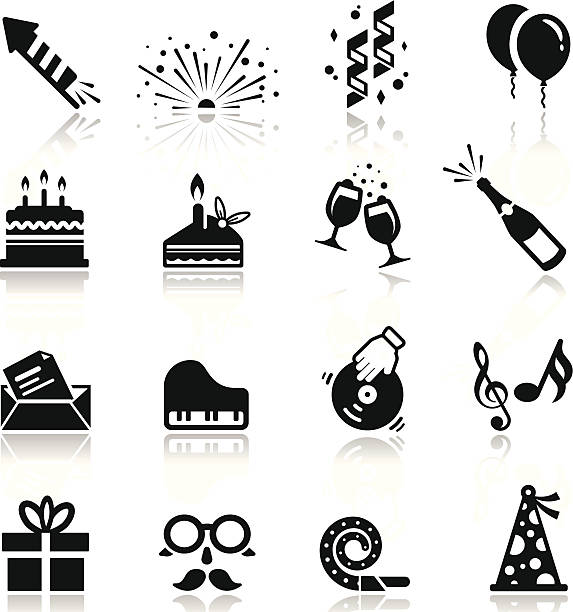 Icons set Birthday and celebration simplified but well drawn Icons, smooth corners no hard edges unless it's required,  birthday silhouettes stock illustrations