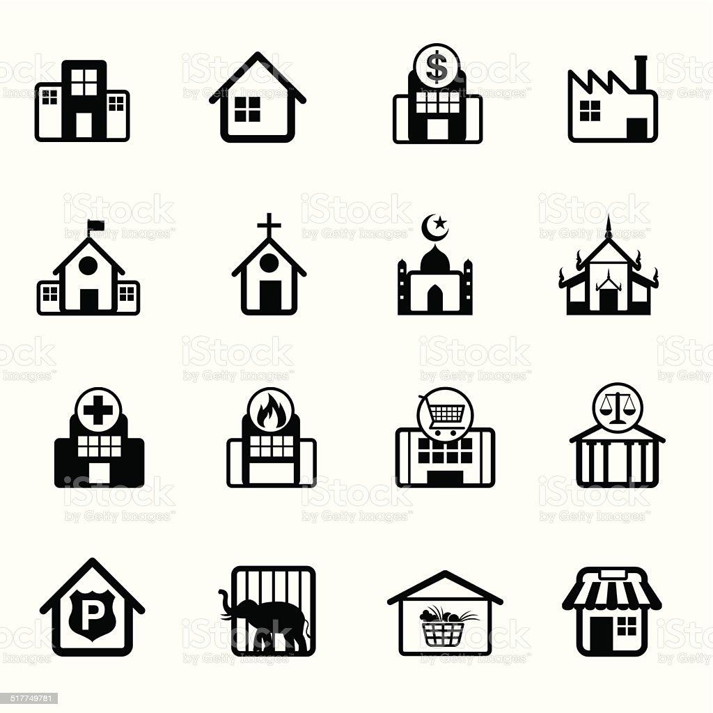 B&W icons set : Building, Destination, Place for Map vector art illustration