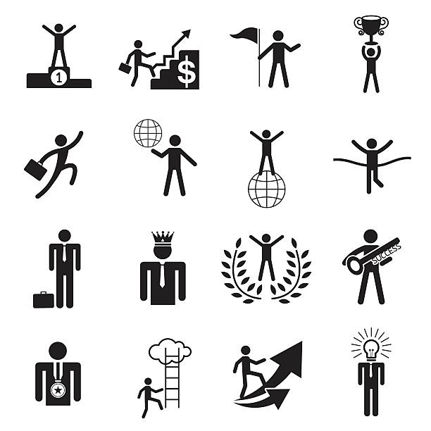 B&W icons set : Business Man, Success, Award Object Business Concept security equipment stock illustrations