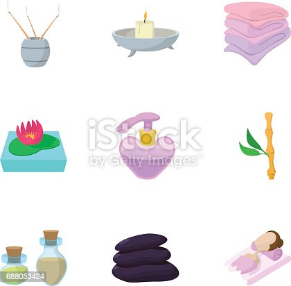 SPA icons set. Cartoon illustration of 9 SPA vector icons for web