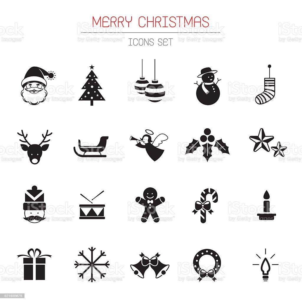 B&W Icons Set : Christmas Objects vector art illustration