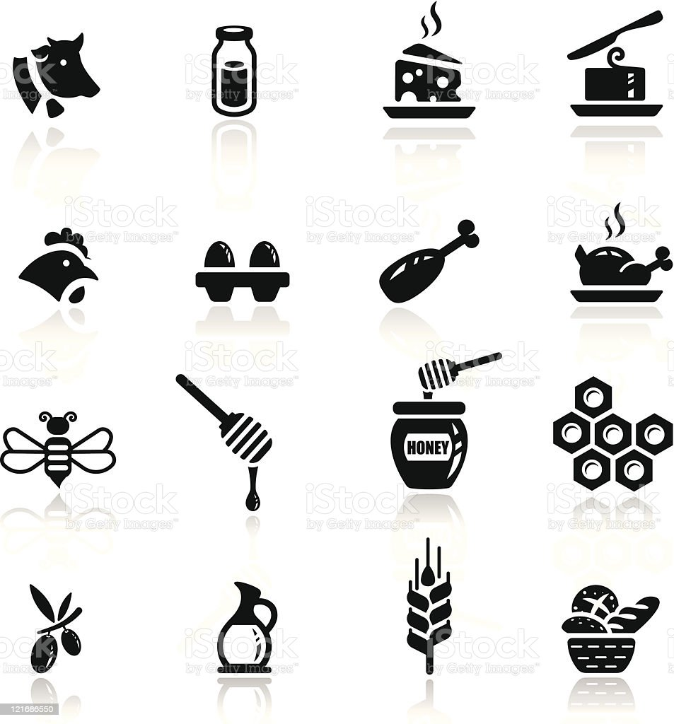 Icons set Dairy and natural products vector art illustration