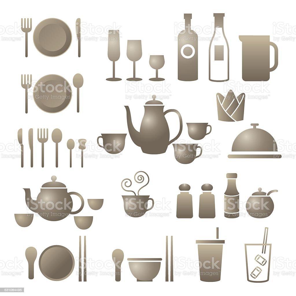 Icons Set : Dinner Restaurant and Eating vector art illustration