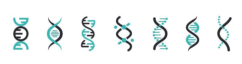 DNA Icons set. DNA Structure molecule icon. Vector molecule. Chromosome icon