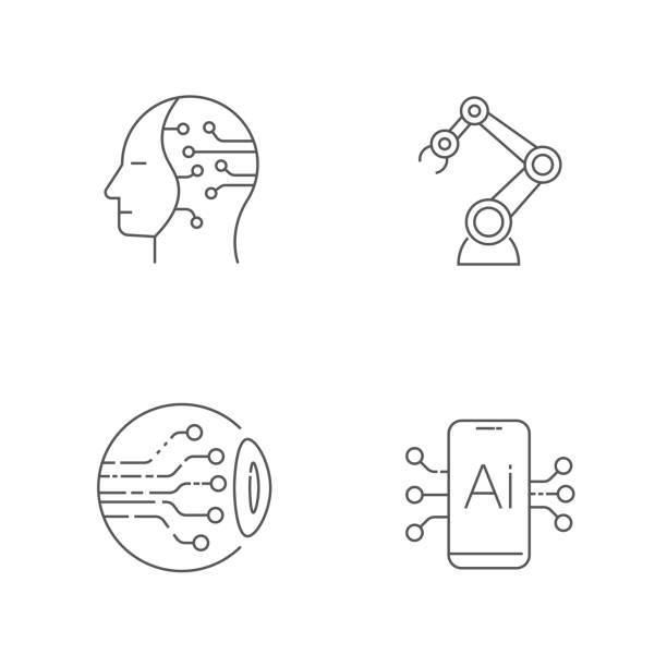 AI icons set. Editable Stroke. EPS 10 vector art illustration