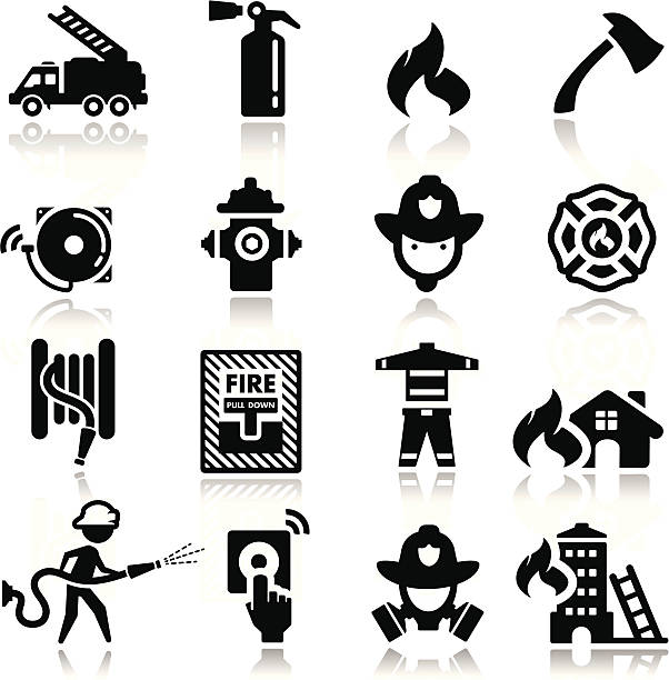 Icons set firefighter simplified but well drawn Icons, smooth corners no hard edges unless it's required,  fire station stock illustrations