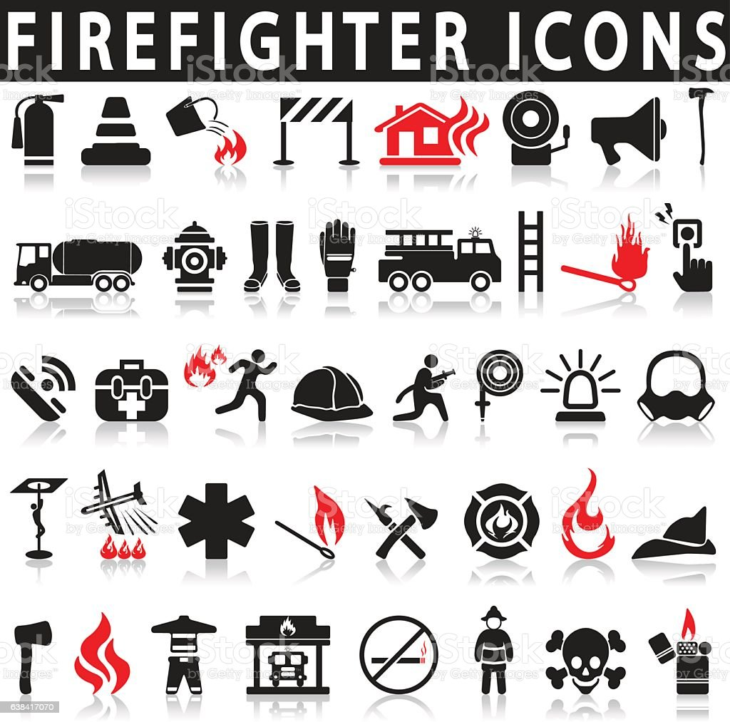 Icons set firefighter vector art illustration