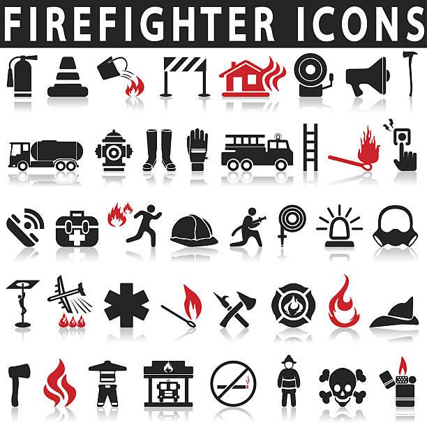 illustrations, cliparts, dessins animés et icônes de icônes set pompier - pompier
