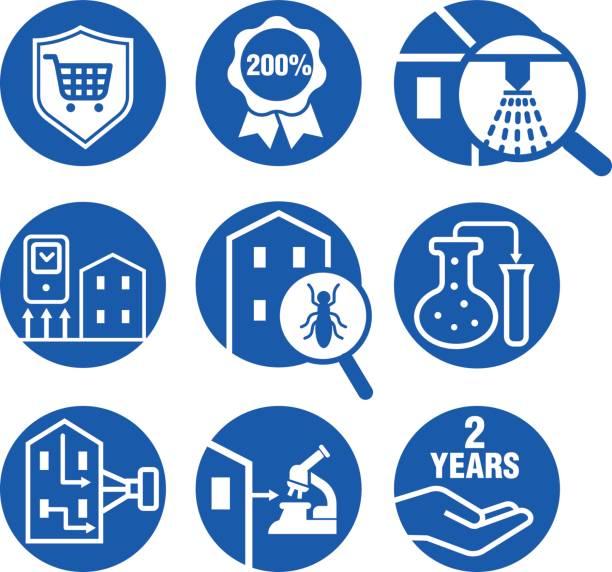 symbole festgelegt für inspektion wohnimmobilien - infrarotfotografie stock-grafiken, -clipart, -cartoons und -symbole