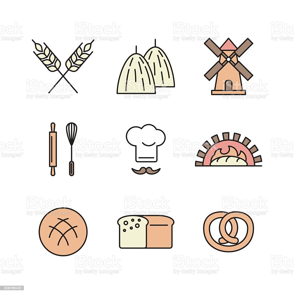 Icons set for wheat factory vector art illustration