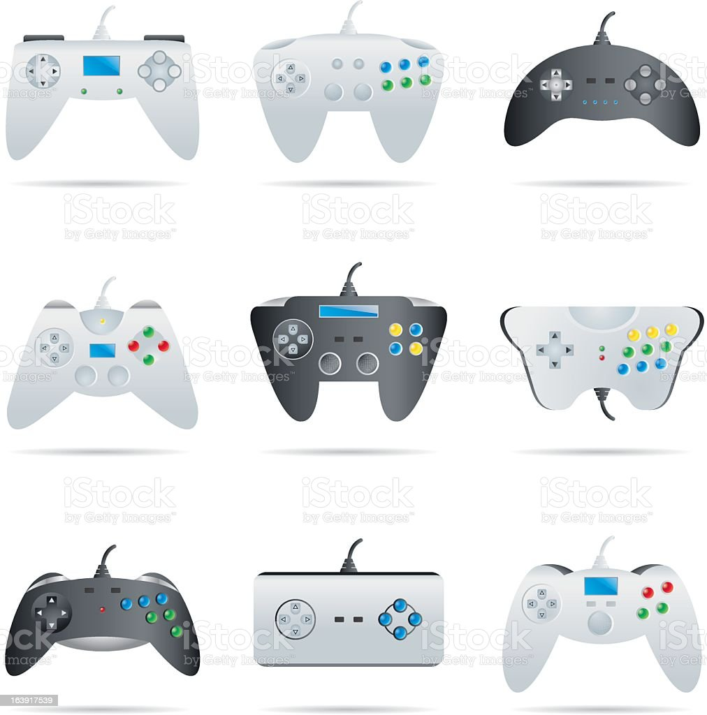 Icons set gamepads and controllers vector art illustration