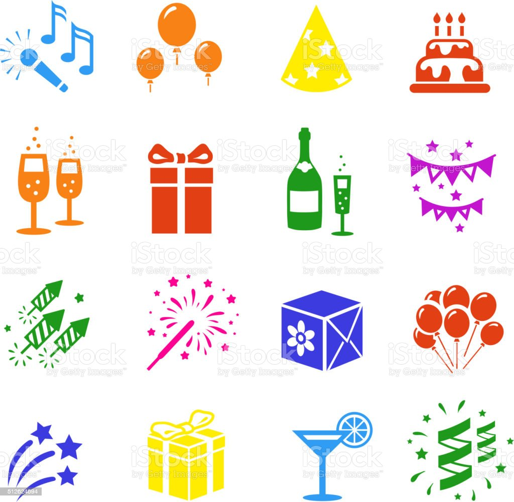 Icons set Holidays. Party, Birthday colored vector art illustration