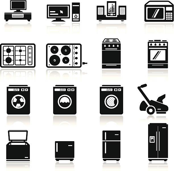 icons set home devices simplified but well drawn Icons, smooth corners no hard edges unless it's required,  refrigerator stock illustrations
