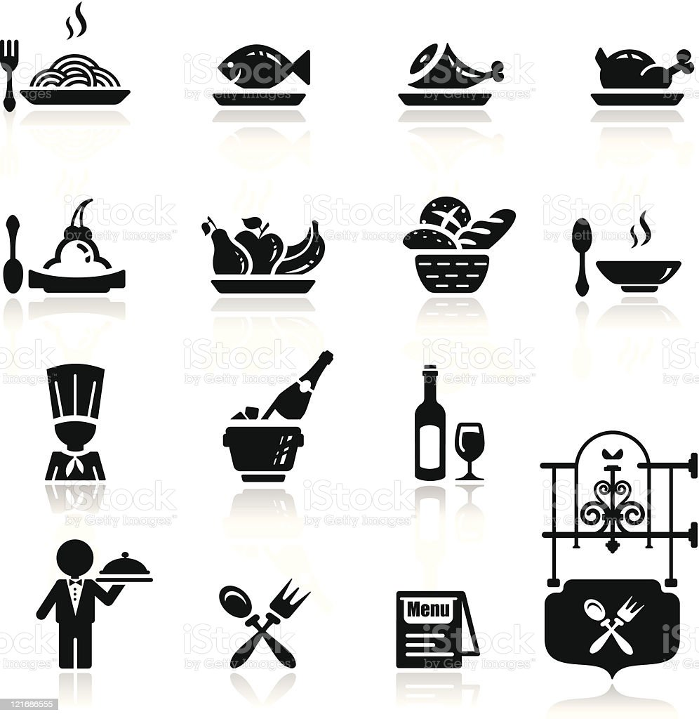 Icons set in black restaurant theme royalty-free stock vector art