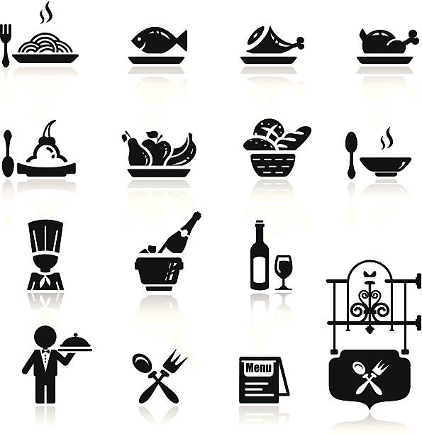 Icons set in black restaurant theme simplified but well drawn Icons, smooth corners no hard edges unless it's required,  champaign illinois stock illustrations