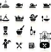 Icons set in black restaurant theme