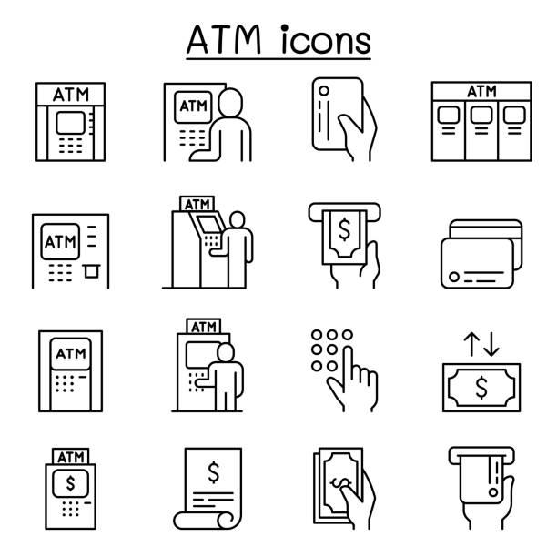 atm-symbole im dünnlinienstil - geldautomat stock-grafiken, -clipart, -cartoons und -symbole