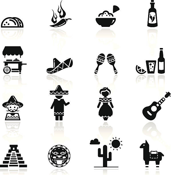 Icons set Mexican culture and cuisine simplified but well drawn Icons, smooth corners no hard edges unless it's required,  female sandwich stock illustrations