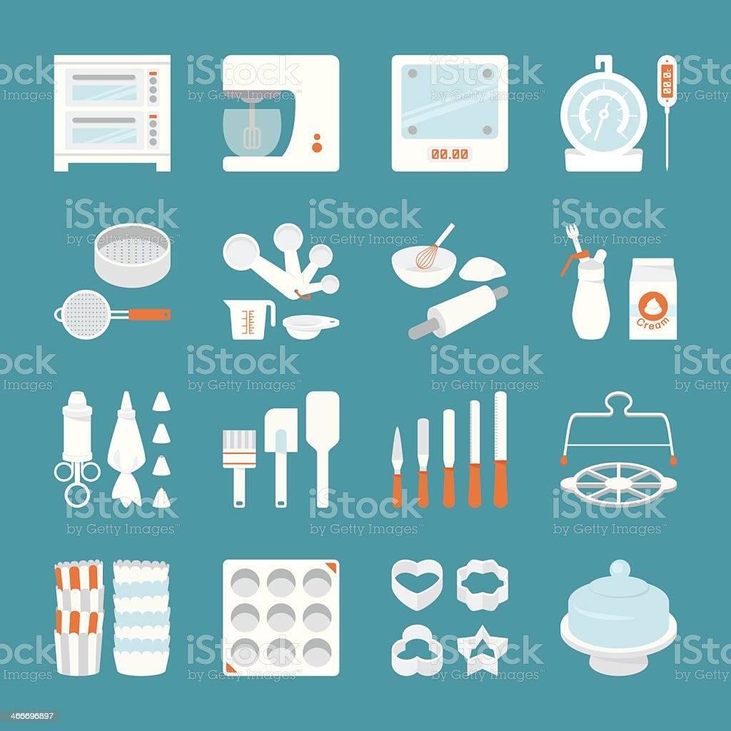 16 icons set of bakery tools on blue background vector art illustration
