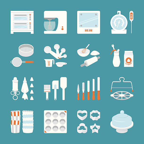 16 icons set of bakery tools on blue background Bakery equipment icon, vector cookie cutter stock illustrations
