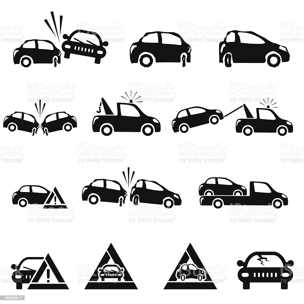 Icons set of car accident vector art illustration