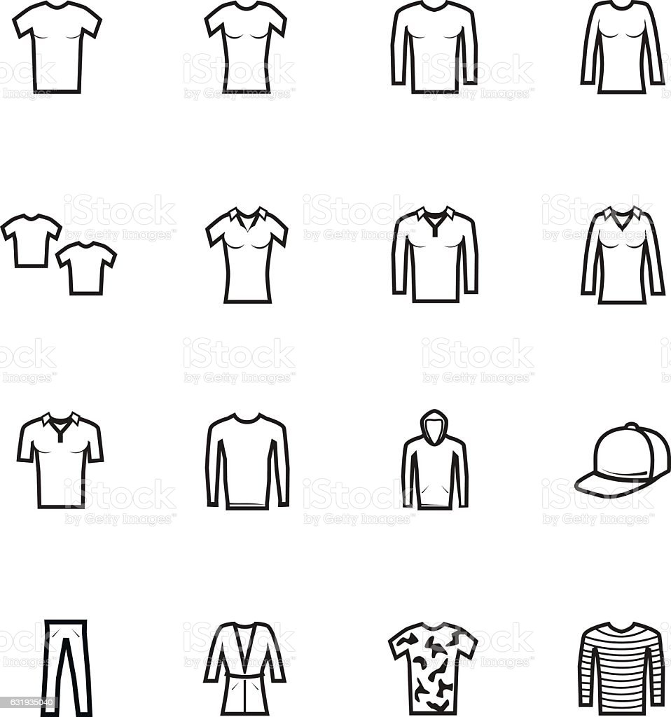 Icons set of clothes vector art illustration