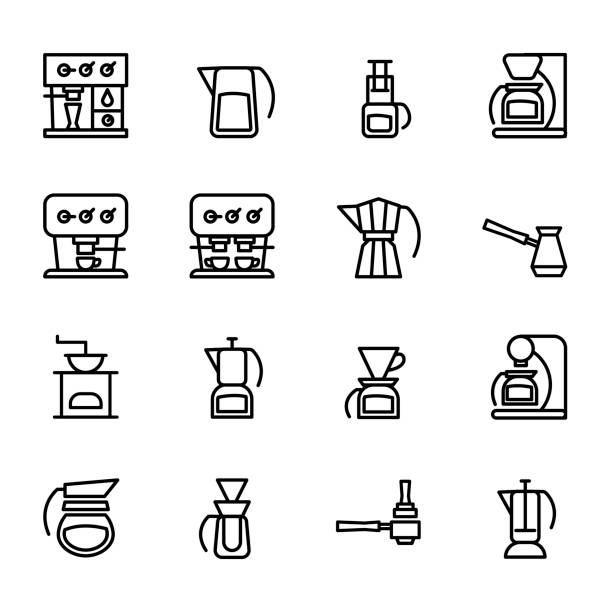 Icons set of coffeemakers. Different types of coffee machines Vector icons of coffeemakers in the style of minimalism. Bold line symbols of machines for coffee for your design. espresso stock illustrations