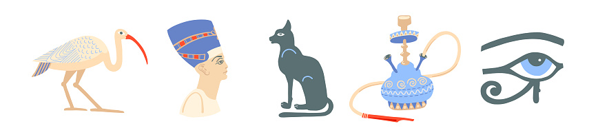 icons set of egyptian symbols - ibis, nefertiti, bastet, hookah and eye of ra