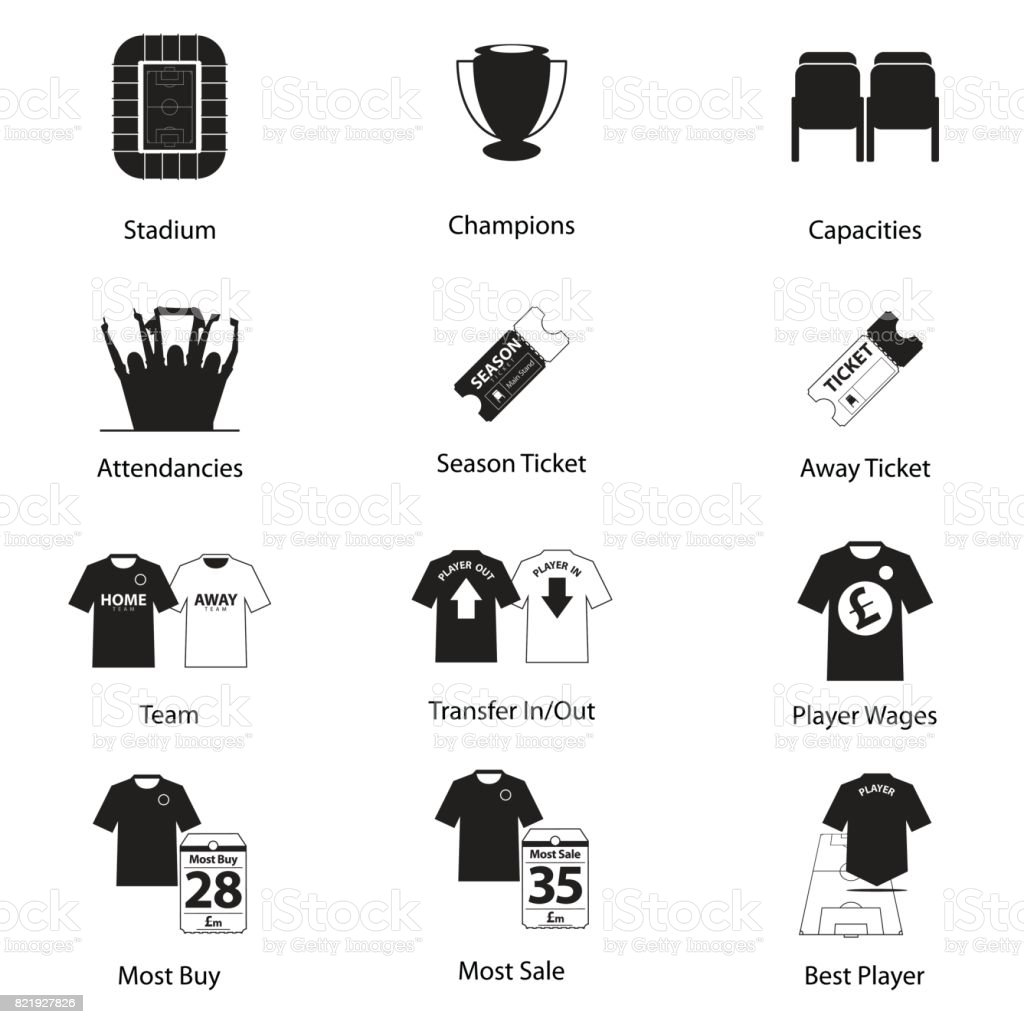 Icons set of football or soccer in flat design for football infographic. Vector. vector art illustration