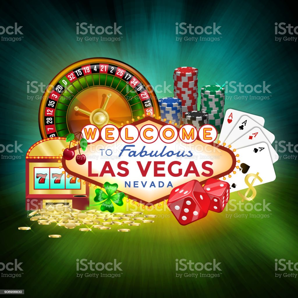 Icons set of gambling in Las Vegas. vector art illustration